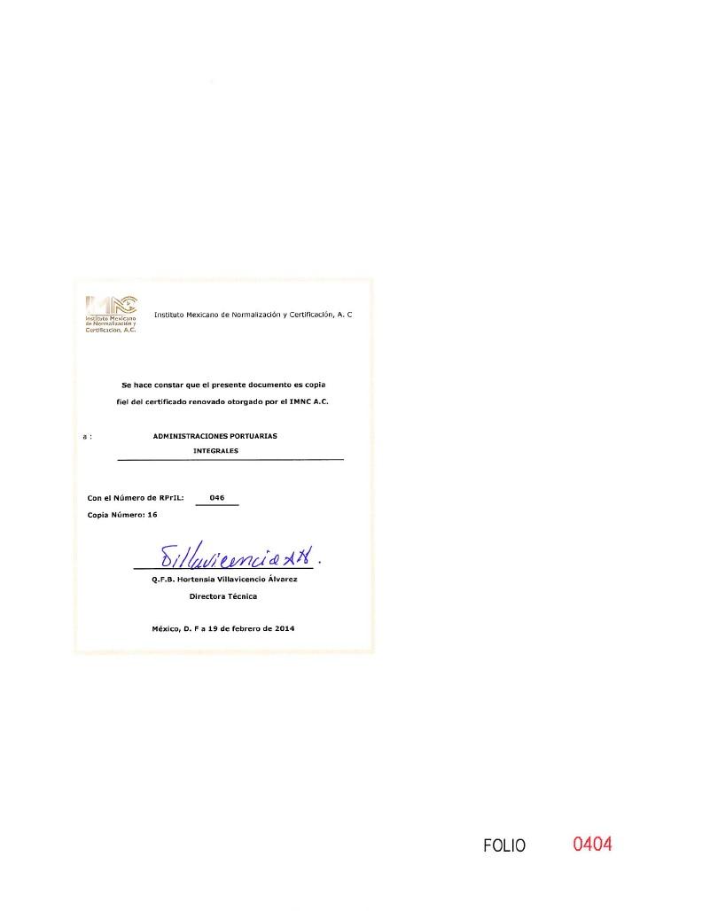 Certificado Igualdad laboral.